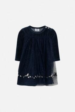 Dilila blå kjole i velour m. glimmer og tyl