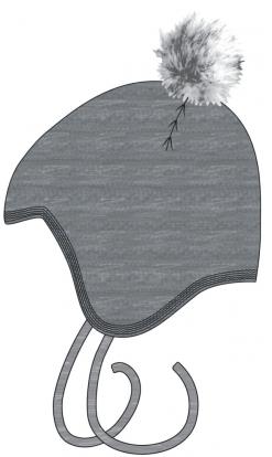 Melton- Baby hue m. Pom Pom, Grå