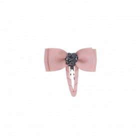 Bows by Stær Lille Double Bow - Snap Clip, Antique Rose m. Grå Glitter