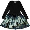 Molo dress kjole Casie cranes - traner- fugle - fugleprint sort