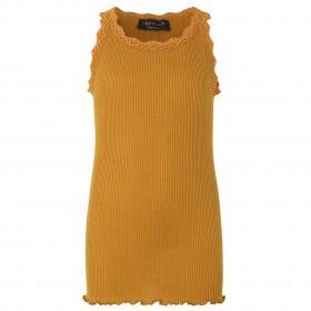 Rosemunde blondetop golden mustard-sennepsgul med blonder