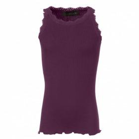 Rosemunde blondetop-potent purple-lilla-blommelilla- blonder og rib
