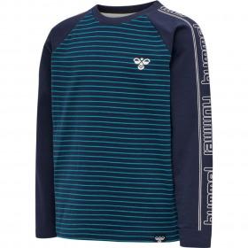 Hummel T-Shirt Pete - Capri Breeze blå m. striber