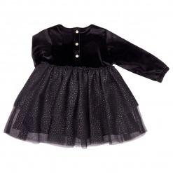 Petit by Sofie Schnoor Tasja Baby Kjole Black - Sort velour top - tylskørt med guld glimmer