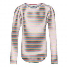 Molo bluse Rochelle - Fine Rainbow Stripe - bluse m. striber