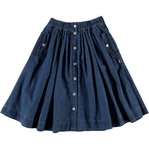 Molo nederdel Bolette - Washed Indigo - Blå denim nederdel - For