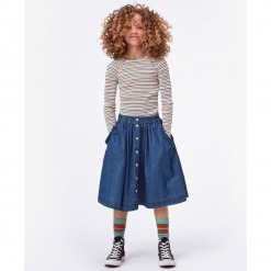 Molo nederdel Bolette - Washed Indigo - Blå denim nederdel - Model
