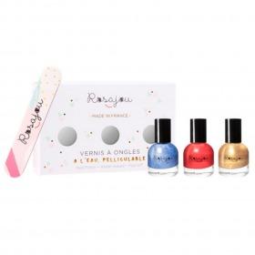 Rosajou neglelak og neglefil - Rubis, Givré og Cheri / Rød, Blå og Guld