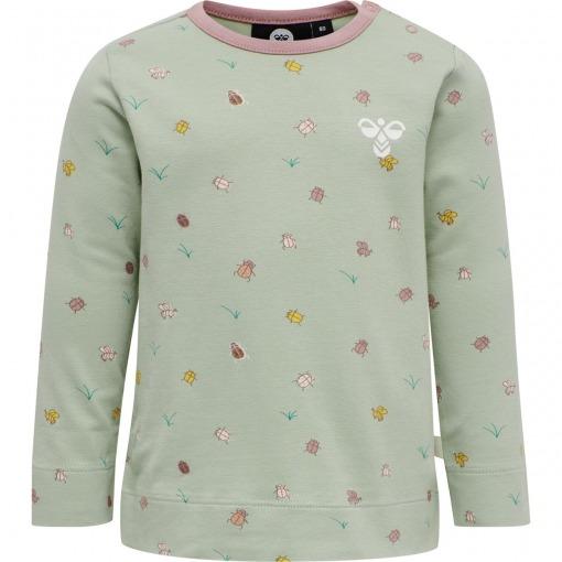 Hummel T-shirt - Bluse Ella - Desert Sage - støvet grøn m. insektprint