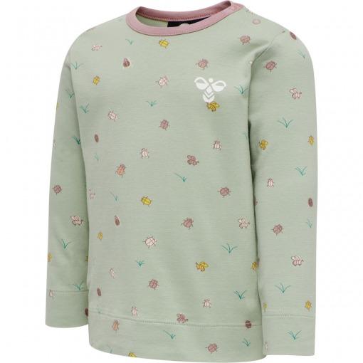 Hummel t-shirt - bluse Desert Sage støvet grøn m. insektprint