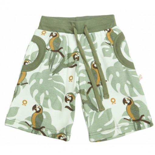 Katvig shorts olivengrøn med papegøjeprint