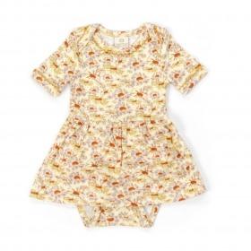 Smallstuff kjolebody m. korte ærmer - creamy yellow - creme -gul m. blomsterprint