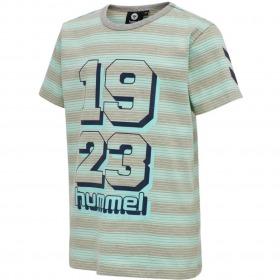 Hummel t-shirt - mack - blue tint - blå - grøn stribet