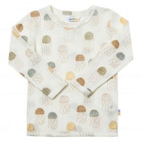 Joha bluse i uld-silke - Offwhite med vandmænd