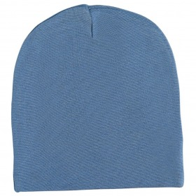 Racing Kids tophue - beanie - 2-lag bomuld - dusty blue - blå