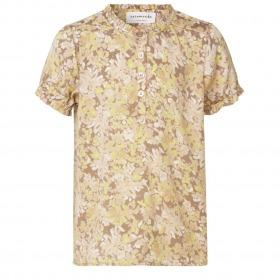 Rosemunde bluse - Sand Flower Garden Print - Beige med blomsterprint