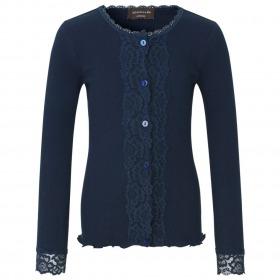 Rosemunde cardigan med blonder og rib - navy - mørkeblå
