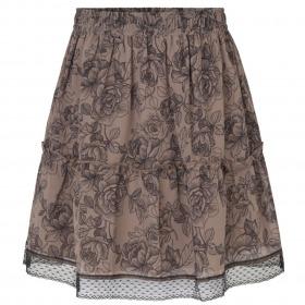 Rosemunde nederdel - dark sand fine line rose print - brun med blomsterprint