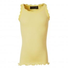 Rosemunde silketop med blonder - vanilla yellow - gul