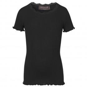 Rosemunde t-shirt kortærmet sort m blonder