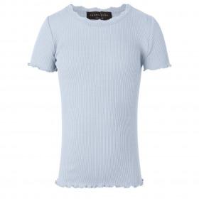 Rosemunde t-shirt med korte-aermer silke bomuld Heather blue himmelblaa lyseblå