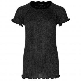 Rosemunde t-shirt sort med sølvglimmer