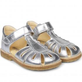 Angulus sandaler - Sølv læder sandal med velcrolukning til piger