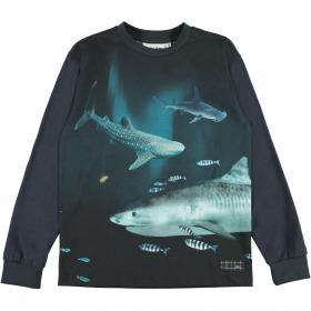 Molo bluse - Rexton - Dark Sharks - navy med hajprint