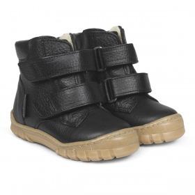Angulus begynder tex støvle i læder med uld foer - black - sort
